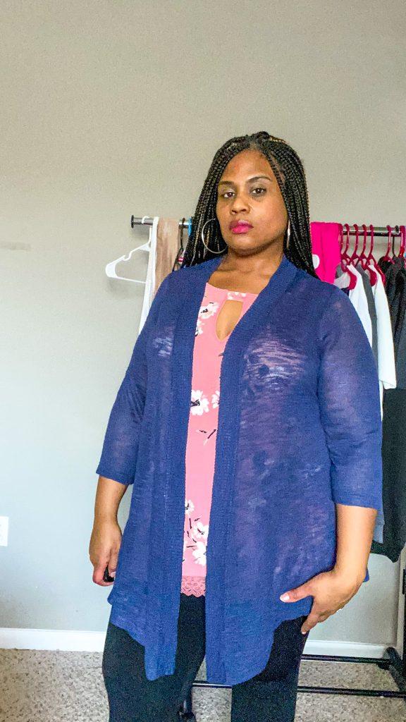 woman wearing plus size navy blue cardigan