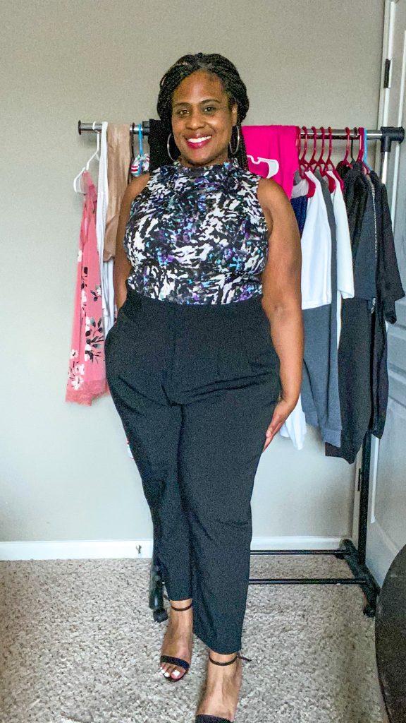 woman wearing plus size black pants