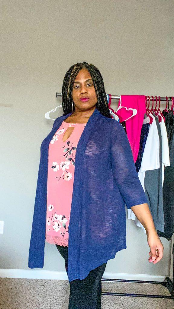woman wearing navy blue cardigan