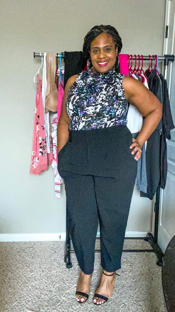 woman wearing plus size black pants for work